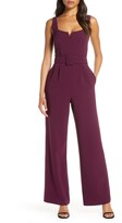 Eliza J Notched Square Neck Belted Jumpsuit
