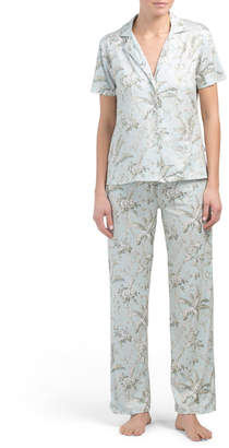 Tropical Short Sleeve Notch Top Pj Set