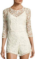 Neiman Marcus 3/4-Sleeve Lace Romper, Ivory