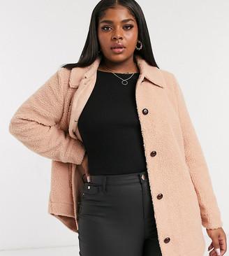 Vero Moda Curve teddy coat in pink
