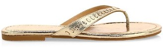 Jack Rogers Collins Metallic Leather Braid Thong Flip Flops