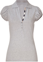 Burberry Pale Grey Heather Cotton Puff Sleeve Polo Shirt
