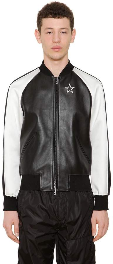 Givenchy Two Tone Nappa Leather Bomber Jacket