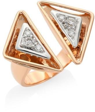 Plevé Aura 18K Rose Gold & Diamond Triangle Cocktail Ring
