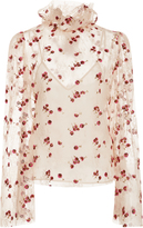 Luisa Beccaria Sheer Floral Embroidered Blouse