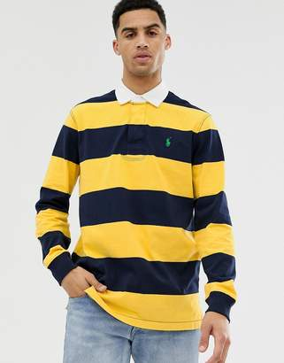 Polo Ralph Lauren stripe player logo rugby polo in yellow/navy