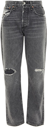 Rag & Bone Distressed Mid-rise Straight-leg Jeans