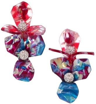 Lele Sadoughi Trillium Bouquet Crystal & Multicolor Acetate Clip-On Drop Earrings