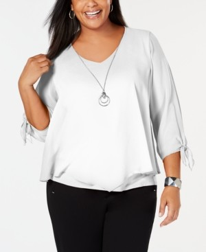 JM Collection Plus Size Tie-Sleeve Necklace Top, Created for Macy's