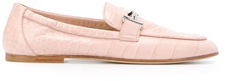 Tod's Crocodile Effect Leather Loafers