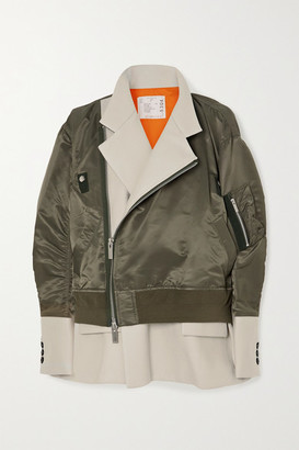 Sacai Layered Shell And Cotton-blend Twill Jacket - Dark green