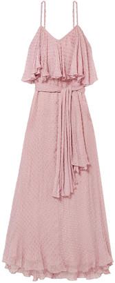 Mes Demoiselles Donatella Belted Layered Fil Coupe Gauze Maxi Dress