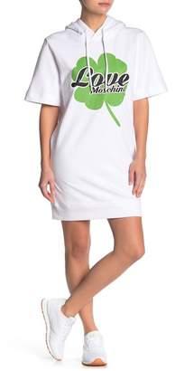 Love Moschino Clover Logo Print Short Sleeve Sweatshirt Hoodie Dress