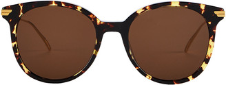 Bottega Veneta Spotted Havana Oversized Round Sunglasses