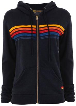 Aviator Nation Charcoal 5 Stripe Hoodie - S - Black/Red/Orange