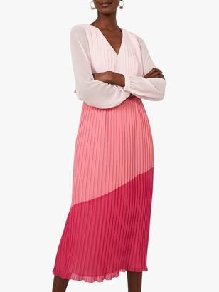 Warehouse Colour Block Pleated Midi Dress, Multi