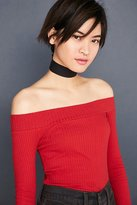 Silence & Noise Silence + Noise Rib Knit Off-The-Shoulder Top