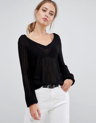 Y.A.S Bim ribbed lightweight knit jumper-Black