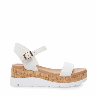 Steve Madden Women's Roselita White Leather Sandal 8 US