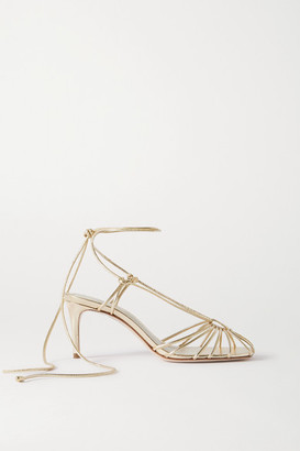PORTE & PAIRE Metallic Leather Sandals - Gold