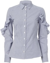 Sea Ruffle Sleeve Button-Down Shirt