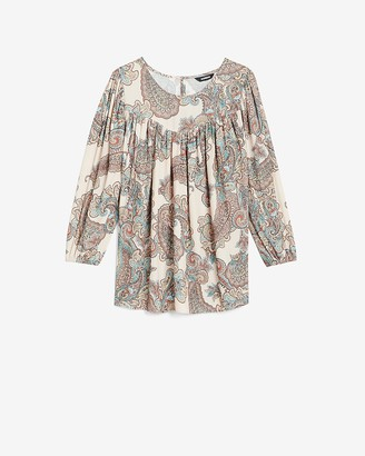 Express Paisley Ruched Top