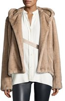 Helmut Lang Hooded Faux-Mink Jacket, Neutral