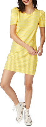 Court & Rowe Classic Stripe Puff Short Sleeve Cotton Dress