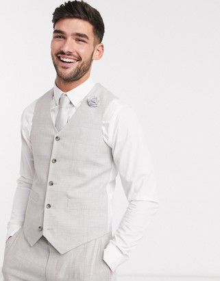 ASOS DESIGN wedding super skinny suit waistcoat in stretch cotton linen in grey check