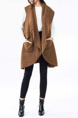 Look By M Circle Pocket Shawl Vest