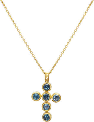 Gurhan One-of-a-Kind Cross Pendant Necklace in Blue Topaz