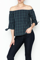 Bailey 44 Plaid Cold Shoulder Top
