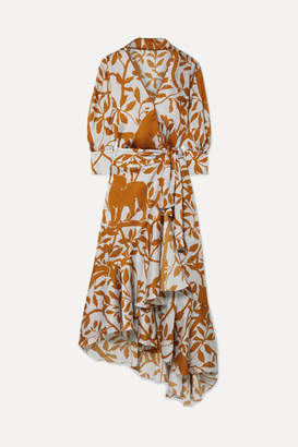 Johanna Ortiz The Journal Of The Traveler Printed Asymmetric Crepon Wrap Dress - Light gray