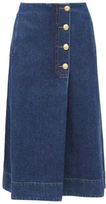 Wales Bonner Buttoned Denim Wrap Skirt - Denim