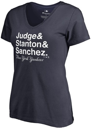 New York Yankees Women's Fanatics Branded Navy Hometown Collection Roster V-Neck T-Shirt
