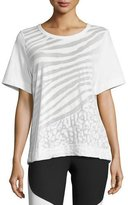 adidas by Stella McCartney Climalite Animal-Print Workout T-Shirt, White