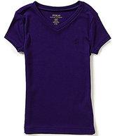 Ralph Lauren Big Girls 7-16 Solid V-Neck Short-Sleeve Tee