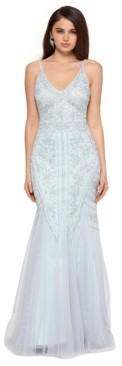 Xscape Evenings Allover-Beaded V-Neck Gown