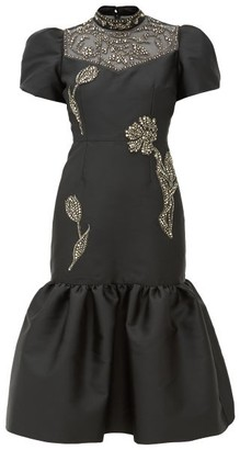 Erdem Valetta Crystal-embellished Mikado Dress - Womens - Black Silver