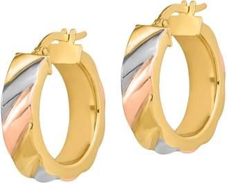 Italian Gold Tri-Color Hoop Earrings, 14K