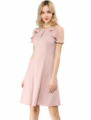 Allegra K Women's Ruffle Keyhole Lace Sleeve Fit and Flare Dress Pink 20