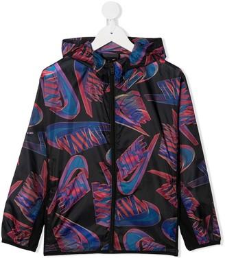 Nike Kids Swoosh-Print Hooded Ripstop Jacket