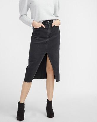 Express Super High Waisted Black Slit Raw Hem Denim Skirt