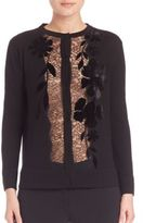 Alberta Ferretti Lace-Detail Wool Cardigan