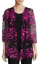 Caroline Rose Floral Notes Draped Jacket, Azalea, Plus Size