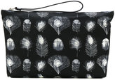 Alexander McQueen medium peacock feather pouch - men - Leather/Polyamide - One Size
