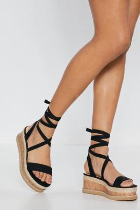 Nasty Gal Womens Draw To A Close Wrap Cork Sandals - Black - 3