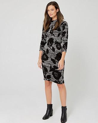 Le Château Floral Print Knit Mock Neck Sweater Dress
