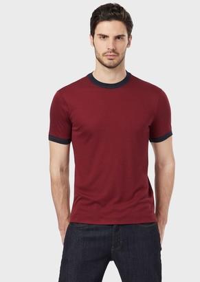 Giorgio Armani Mulberry Silk And Viscose T-Shirt With Contrasting Trim