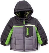London Fog Gray & Green Puffer Coat - Infant, Toddler & Boys